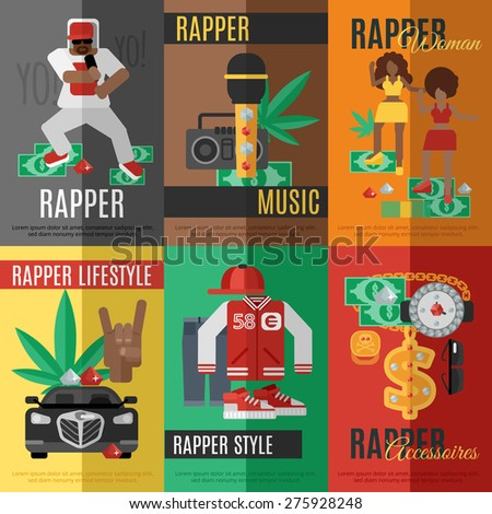 Rap music mini poster set with rapper style clothing and accessories isolated vector illustration - stock vector