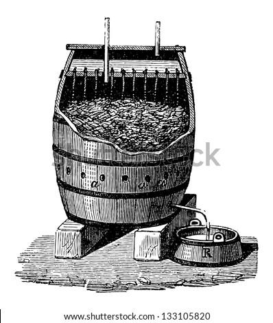 Rapid Acetification of Vinegar in a Schuzenbach Barrel, vintage engraved illustration. Industrial Encyclopedia - E.O. Lami - 1875 - stock vector