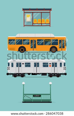 Rapid transit system and shorter distance transport vector modern flat design items with bus, subway train car, bus stop and tube entrance. Ideal for transport themed graphic and web design - stock vector