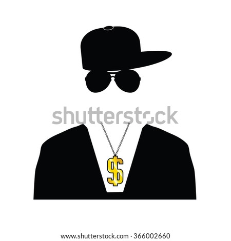 rapper illustration with dollar chain on white - stock vector