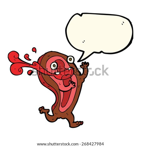 rare steak cartoon character with speech bubble - stock vector