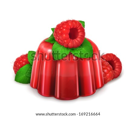 Raspberries and mint jelly, vector - stock vector