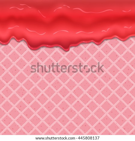 raspberry cream or yogurt dripping down seamless texture of waffles. Editable - Easy change colors.