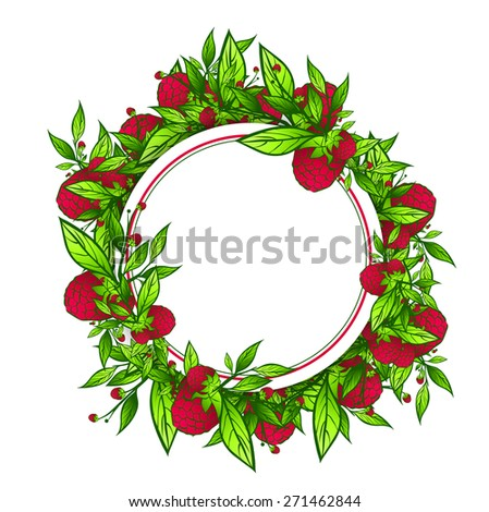 Raspberry Empty Round Frame Over White Background - stock vector