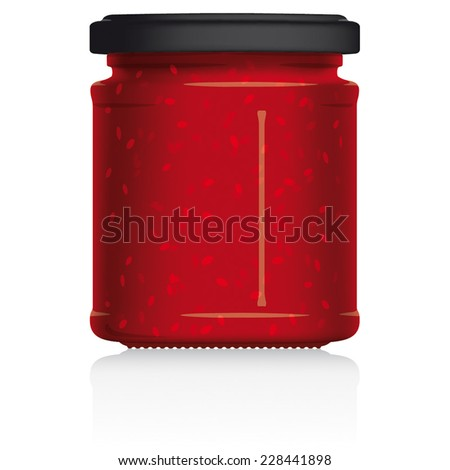 Raspberry Jam Jar vector visual illustration, Drawn with mesh tool. Fully adjustable & scalable. - stock vector
