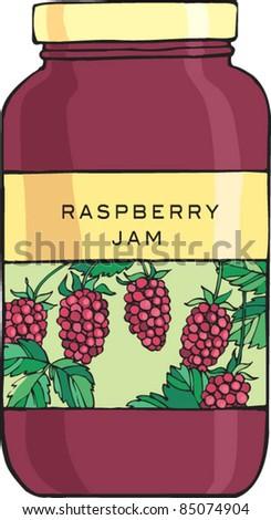 Raspberry jam jelly in jar - stock vector