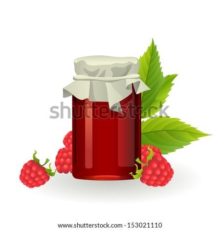 Raspberry jam with fresh raspberries - stock vector