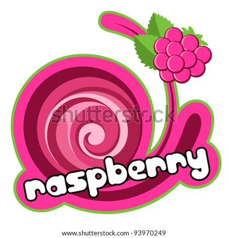 Raspberry label. Background for design of packing. Vector illustration. - stock vector