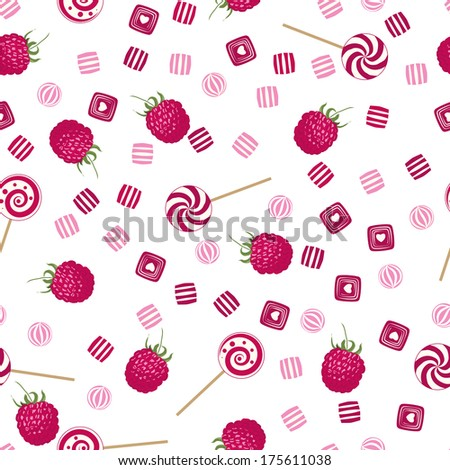 Raspberry lollipops, candy and chewing gum seamless pattern background texture - stock vector