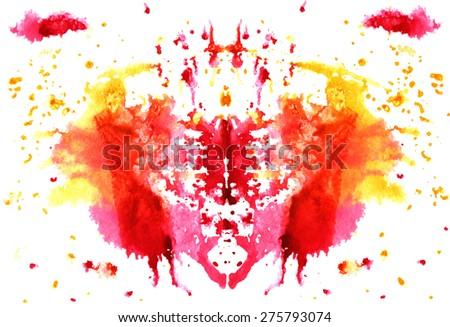 raspberry -yellow watercolor symmetrical Rorschach blot on a white background - stock vector