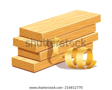 Rasped wooden boards and filings sawdusts. Eps10 vector illustration. Isolated on white background - stock vector