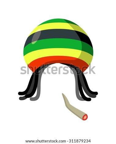 Rasta Cap with dreadlocks on white background. Spliff  smoking drug cannabis. Jamaican Hat - stock vector