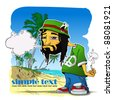 Rasta character on a beach-background. Vector illustration. Place for your text. EPS10 - stock