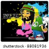 Rasta character on a grunge-background. Vector illustration. Place for your text. EPS10 - stock vector