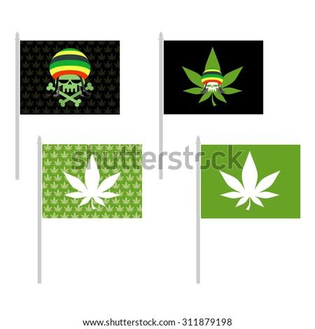 Rasta flags set. Banner for addicts of Jamaica. Green Skull and leaf marijuana. Head skeleton in Rasta Cap. Vector illustration - stock vector