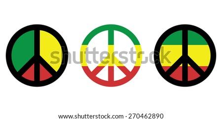 Rasta peace sign , flag . Vector - stock vector