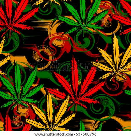 Rasta Wallpaper Abstract Seamless Pattern Marijuana Stock Vector