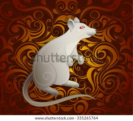 Rat as symbol for year 2020 by Chinese traditional horoscope with orient ornament on backdrop - stock vector