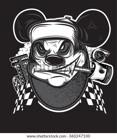 Rat racing team motocross  logo, T-Shirt design,Eps10 file.