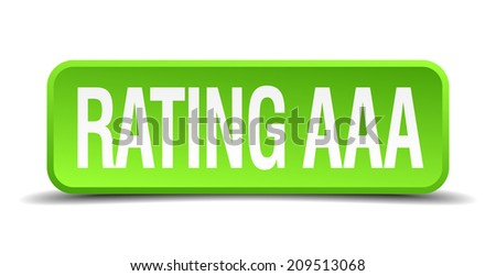rating AAA green 3d realistic square isolated button - stock vector