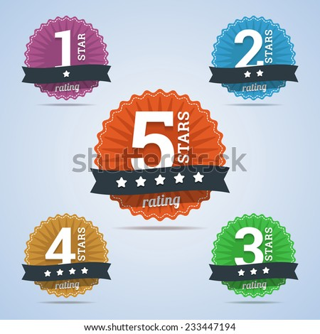 Rating badges from one to five stars. - stock vector