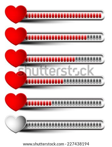 Rating elements with hearts - Liking, satisfaction, grading, dissatisfaction, bad experience, ~customer~ feedback or stamina, health points concepts #1 small bars version - stock vector
