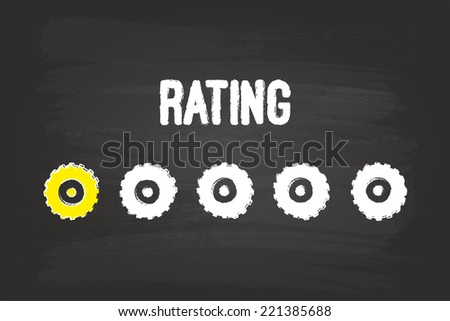 Rating Evaluation System With One Gear On Blackboard - stock vector