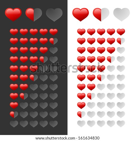 Rating Hearts Set. Vector - stock vector