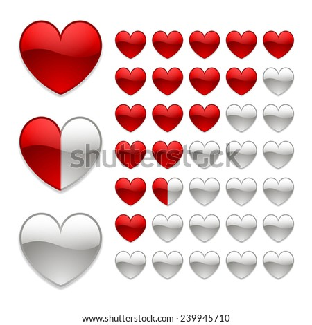 rating of hearts on a white background - stock vector