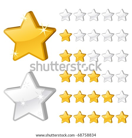 Rating stars for web. 3d vector illustration - stock vector