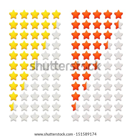 Rating stars isolated on white. Vector illustration. - stock vector
