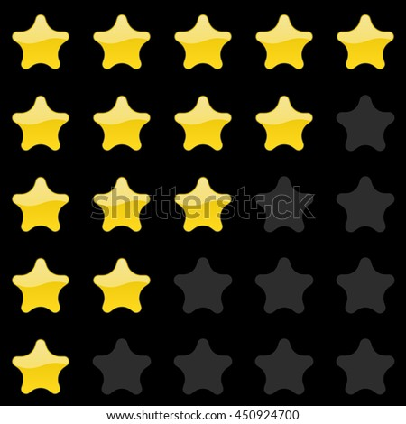 Rating stars panel. Customer review, vote navigation bar. Vector satisfaction level symbol - stock vector
