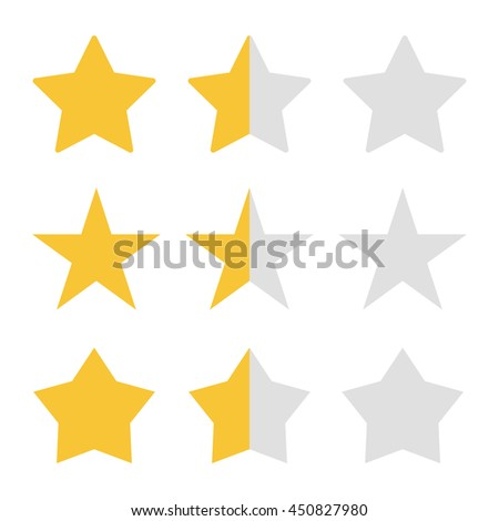 Rating stars set. Stars kit to estimate, full star, half star. Flat, simple star for evaluation. Golden vector stars isolated on white background - stock vector