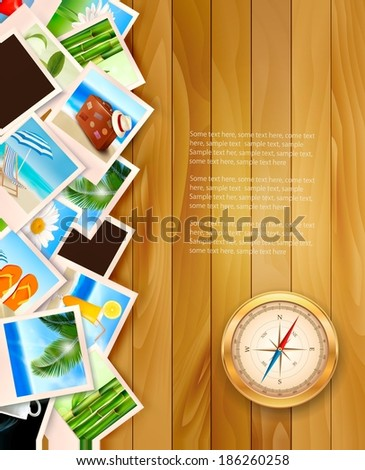 ravel photos and compass on wood background. Vector illustration.  - stock vector