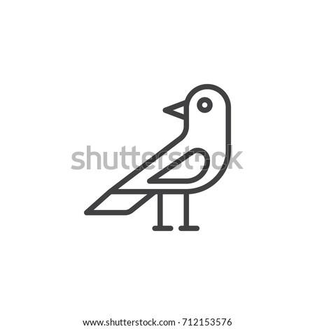 Raven Bird Line Icon Outline Vector Stock Vector 712153576 ...