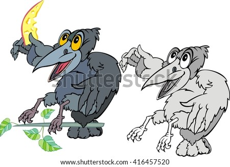 raven  cartoon - stock vector