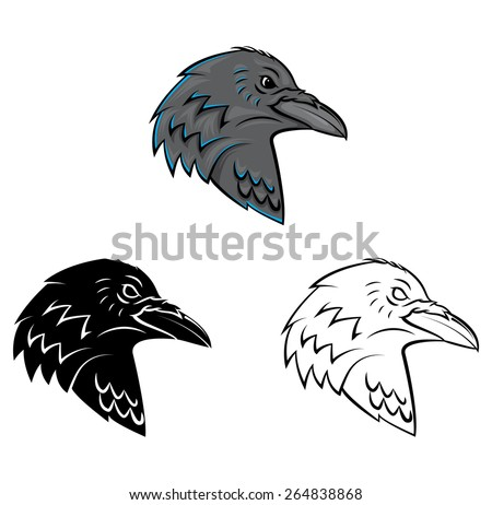 Raven Head - stock vector