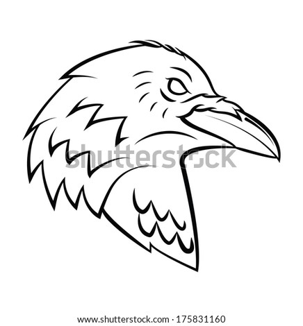 Raven Head Tattoo - stock vector