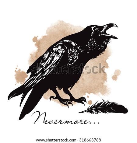Raven on sepia background halloween vector illustration - stock vector