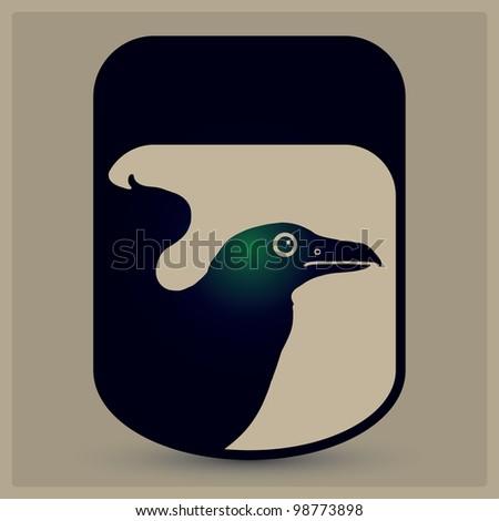 raven portrait emblem - stock vector