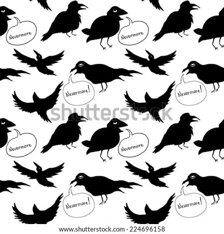 Raven Seamless Pattern - stock vector