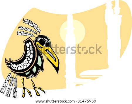 Raven sits by totem poles rendered in Northwest Coast Native Style. - stock vector