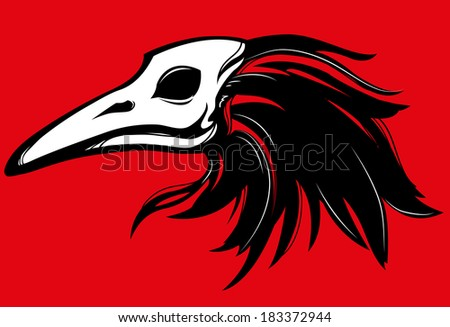 raven skull beak - stock vector