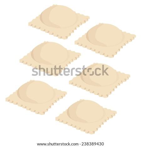 Ravioli vector, pasta, macaroni, italian, isolated on white - stock vector
