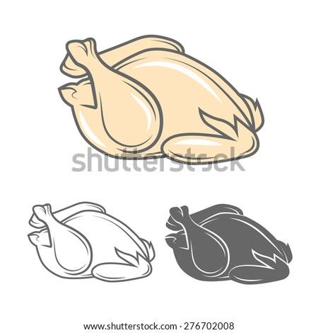 Raw chicken vector illustration - stock vector