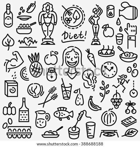 raw food , diet - set icons