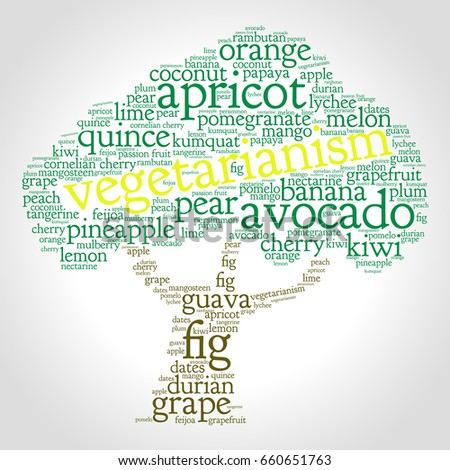 Raw Food Diet Word Cloud In Shape Of Tree Grey Gradient Background Fruit