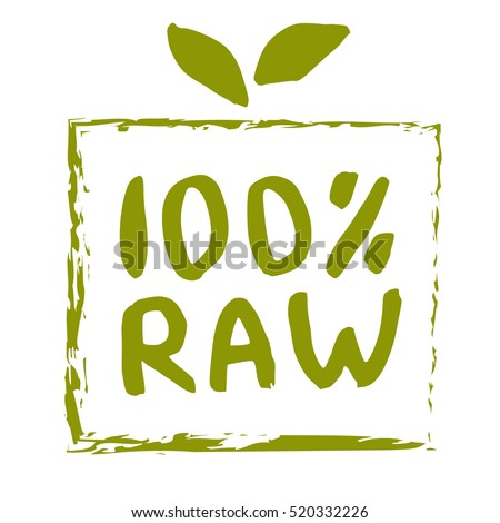 Raw Food Hand Drawn Label Isolated Stock Vector 520332226 ...