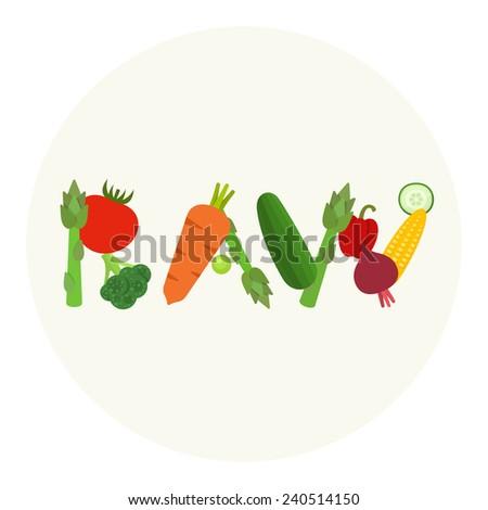 Raw food vector illustration - stock vector