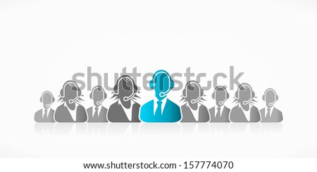 Raw of customer service representatives with blue silhouette  - stock vector